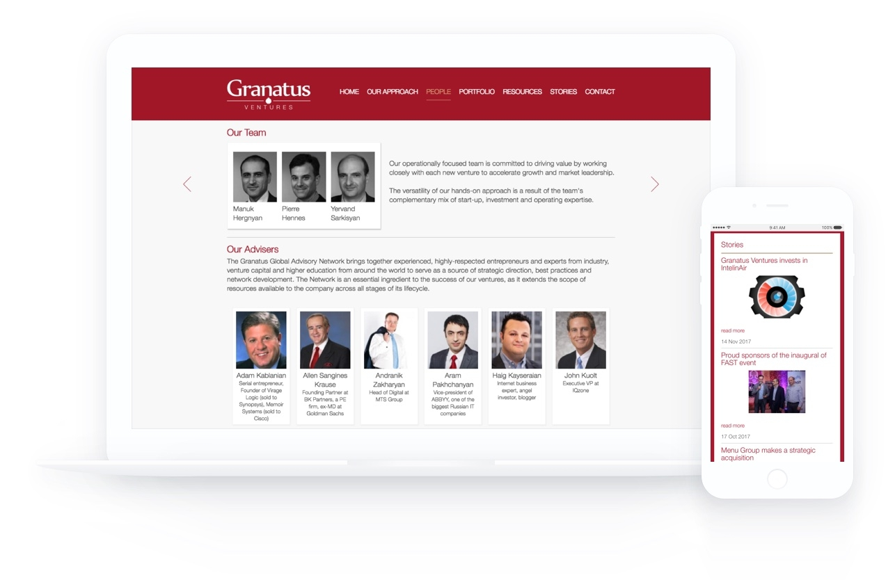 Granatus Ventures Responsive Layout